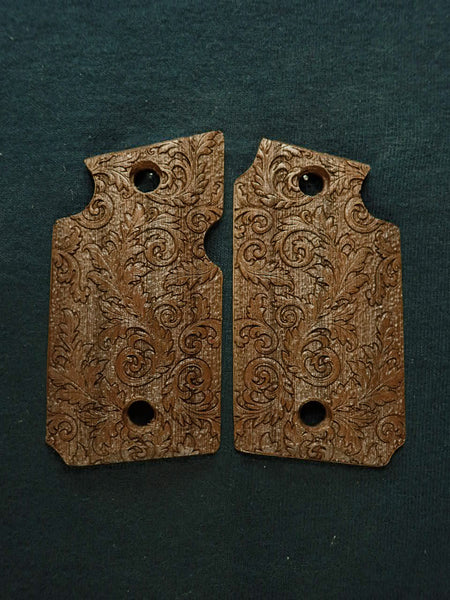 Floral Scroll Walnut Sig Sauer P938 Grips