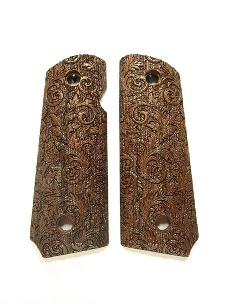 Floral Scroll Walnut 1911 Grips (Compact)