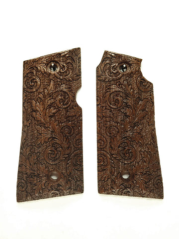 Floral Scroll Walnut Colt Mustang Pocketlite Grips