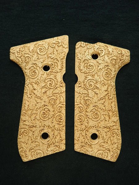 Floral Scroll Maple Beretta 92fs Grips