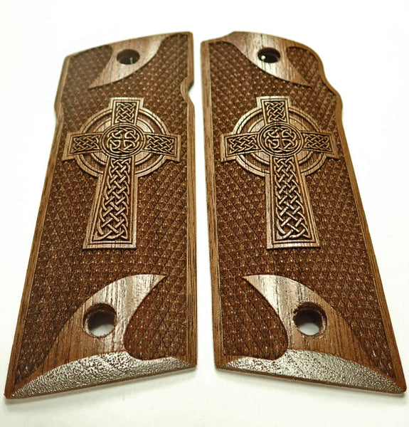 Walnut Celtic Cross Coonan .357 Grips