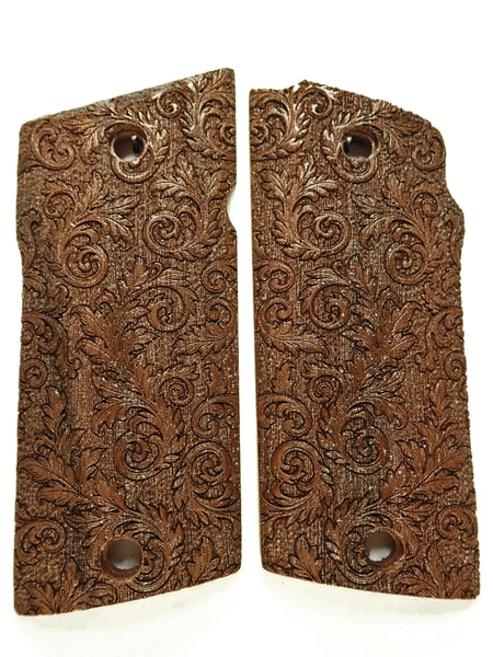 Walnut Floral Scroll Compact Coonan .357 Grips