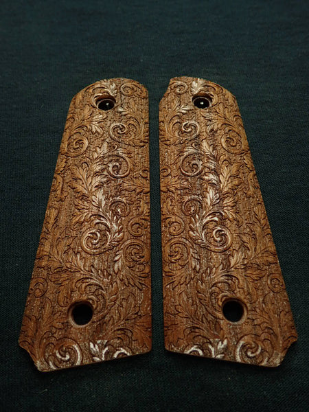 Walnut Floral Scroll Ruger Mark III 22/45 Grips