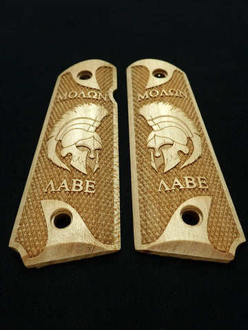 Molon Labe Spartan Helmet Maple 1911 Grips (Full Size) #2