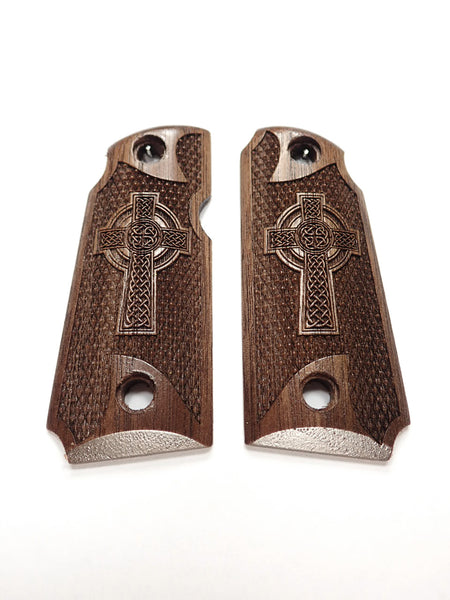 Celtic Cross Walnut Kimber Micro 380 Grips