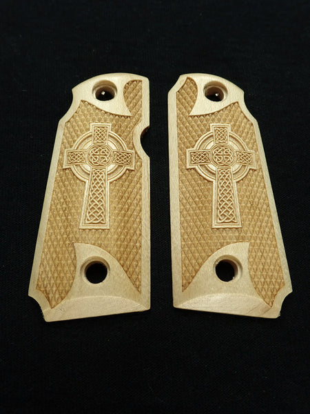 Celtic Cross Maple Kimber Micro 380 Grips