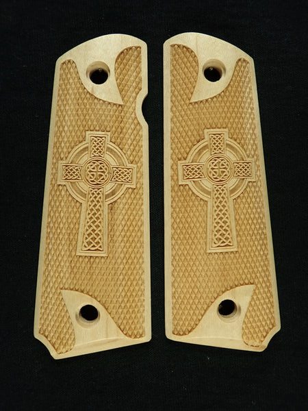 Celtic Cross Checkered Maple Browning 1911- 22/380 Grips