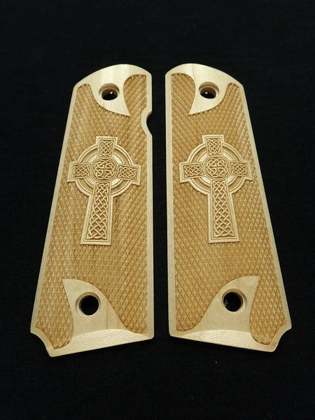 Celtic Cross Full Checker Maple 1911 Grips (Full Size) #1
