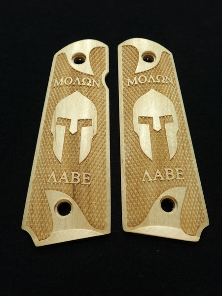 Molon Labe Spartan Helmet Maple 1911 Grips (Full Size) #1
