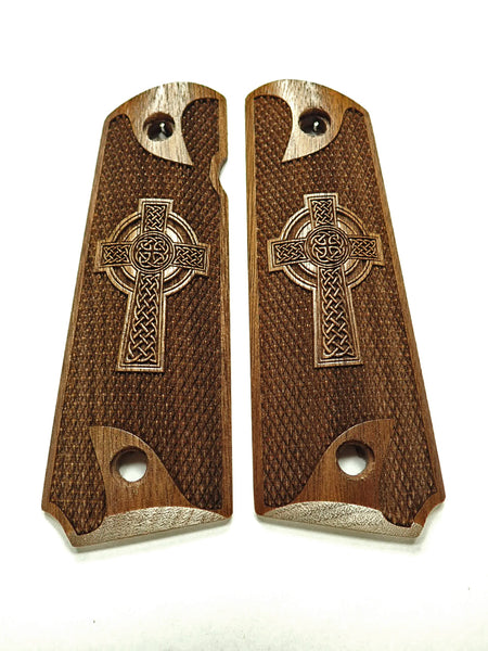 Celtic Cross Full Checker Walnut 1911 Grips (Full Size) #1