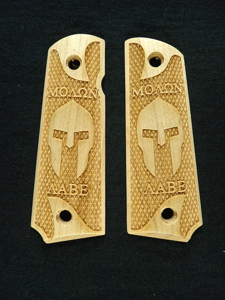 Molon Labe Spartan Checkered Maple Browning 1911- 22/380 Grips