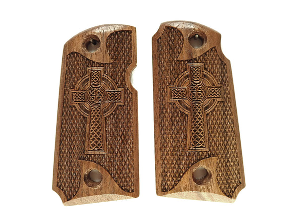 Celtic Cross Walnut Kimber Micro 9 Grips