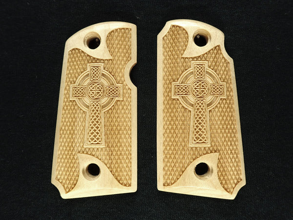 Celtic Cross Maple Kimber Micro 9 Grips