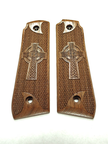 Celtic Cross Walnut Ruger Mark IV 22/45 Grips Checkered Engraved Textured