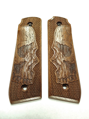 Skull Walnut Ruger Mark IV 22/45 Grips Checkered Engraved Textured