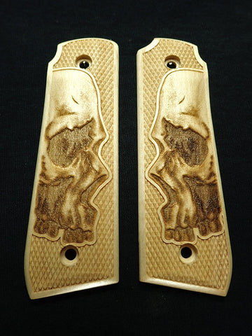 Skull Maple Ruger Mark IV 22/45 Grips Checkered Engraved Textured