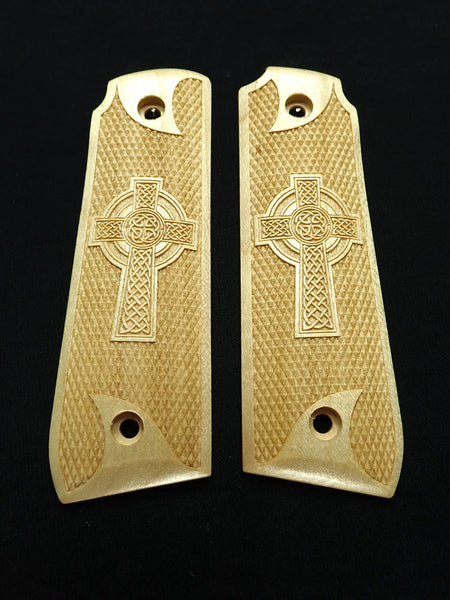 Celtic Cross Maple Ruger Mark IV 22/45 Grips Checkered Engraved Textured