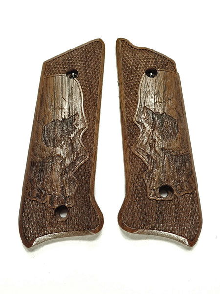 Walnut Skull Ruger Mark II/III Grips Checkered Engraved Textured