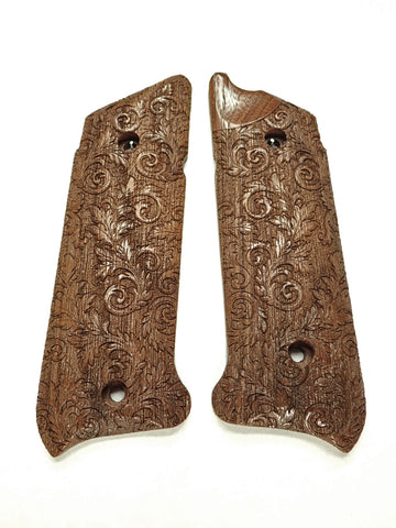 Floral Scroll Walnut Ruger Mark IV Grips Checkered Engraved Textured