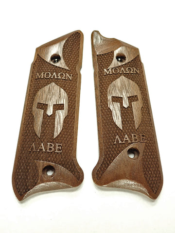 Molon Labe Spartan Helmet Walnut Ruger Mark IV Grips Checkered Engraved Textured