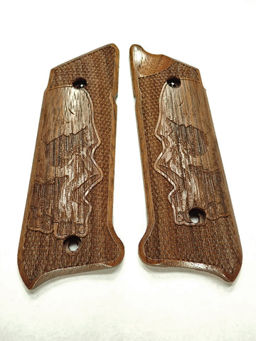 Skull Walnut Ruger Mark IV Grips Checkered Engraved Textured