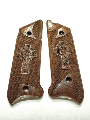 Celtic Cross Walnut Ruger Mark IV Grips Checkered Engraved Textured