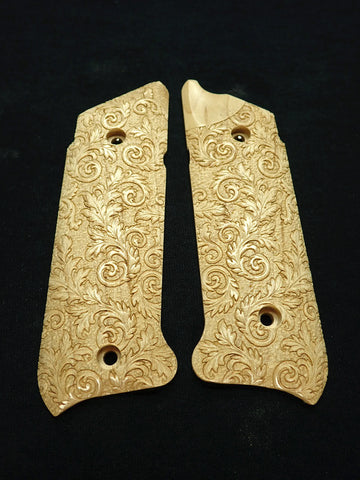 Floral Scroll Maple Ruger Mark IV Grips Checkered Engraved Textured