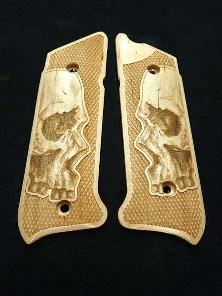 Skull Maple Ruger Mark IV Grips Checkered Engraved Textured