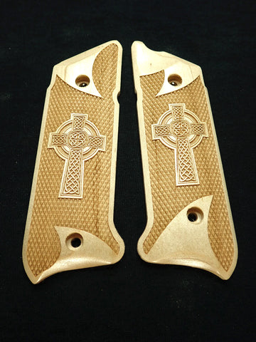 Celtic Cross Maple Ruger Mark IV Grips Checkered Engraved Textured
