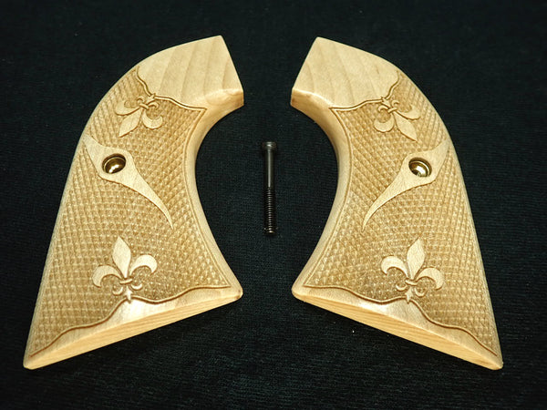 Fleur De Lis Maple Ruger New Vaquero Grips Checkered Engraved Textured