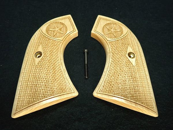 Texas Star Maple Ruger New Vaquero Grips Checkered Engraved Textured