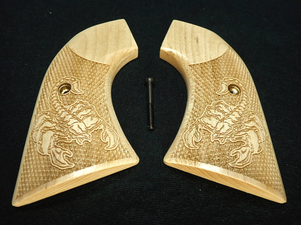 Scorpion Maple Ruger New Vaquero Grips Checkered Engraved Textured