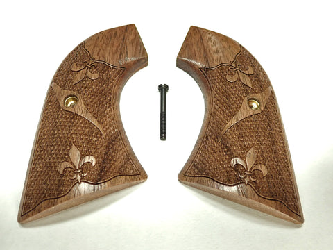 Fleur De Lis Walnut Ruger New Vaquero Grips Checkered Engraved Textured