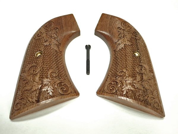 Floral Checker Walnut Ruger New Vaquero Grips Checkered Engraved Textured