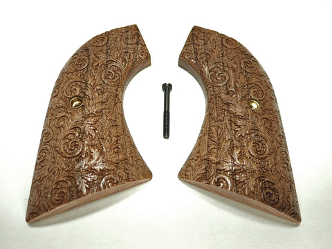 Floral Walnut Ruger New Vaquero Grips Checkered Engraved Textured