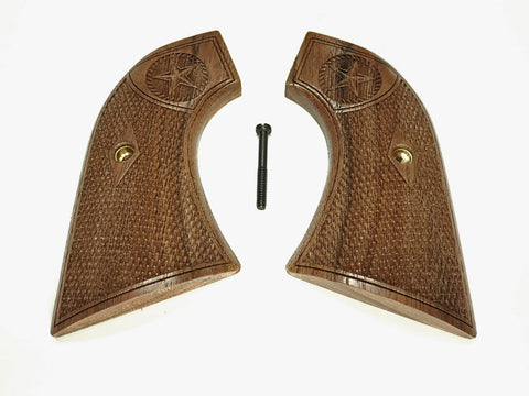 Texas Star Walnut Ruger New Vaquero Grips Checkered Engraved Textured