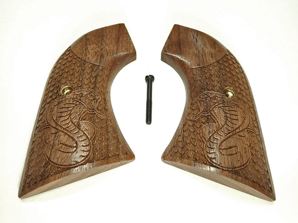 Cobra Walnut Ruger New Vaquero Grips Checkered Engraved Textured