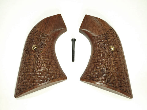 Celtic Cross Walnut Ruger New Vaquero Grips Checkered Engraved Textured