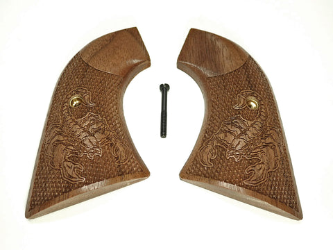 Scorpion Walnut Ruger New Vaquero Grips Checkered Engraved Textured
