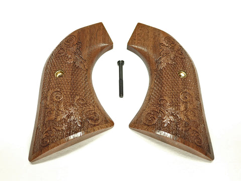 Checkered Floral Engraved Walnut Ruger Vaquero/Blackhawk Grips Textured