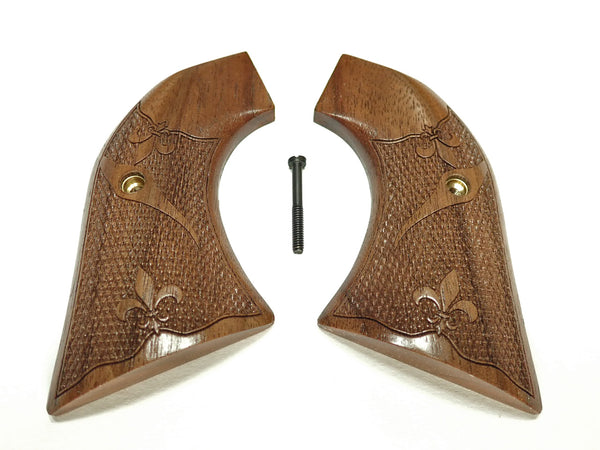 Checkered Fleur De Lis Engraved Walnut Ruger Vaquero/Blackhawk Grips Textured