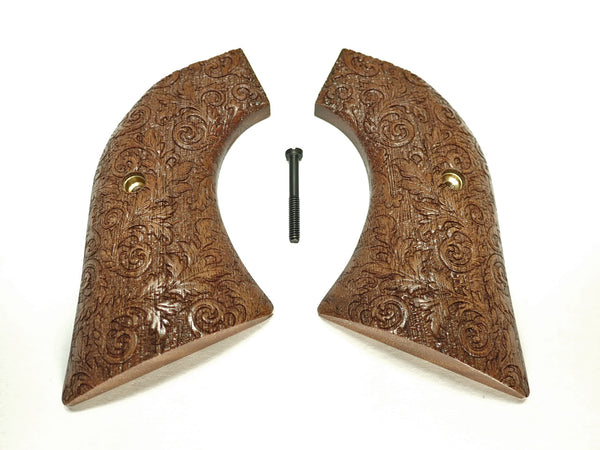 Floral Engraved Walnut Ruger Vaquero/Blackhawk Grips Textured