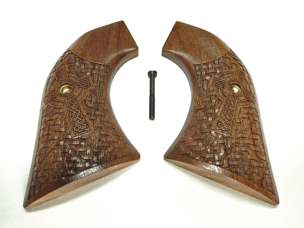 Braided Celtic Cross Engraved Walnut Ruger Vaquero/Blackhawk Grips Textured
