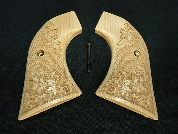 Checkered Floral Engraved Maple Ruger Vaquero/Blackhawk Grips Textured