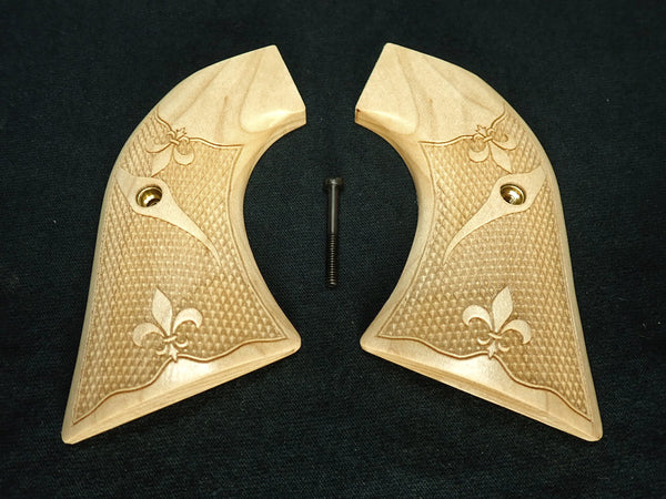 Checkered Fleur De Lis Engraved Maple Ruger Vaquero/Blackhawk Grips Textured