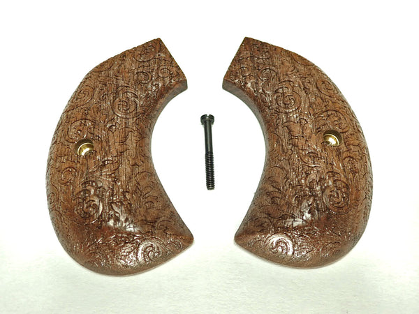 Floral Walnut Ruger Vaquero Birdshead Grips Engraved Textured