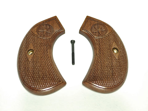 Checkered Texas Star Walnut Ruger Vaquero Birdshead Grips Engraved Textured