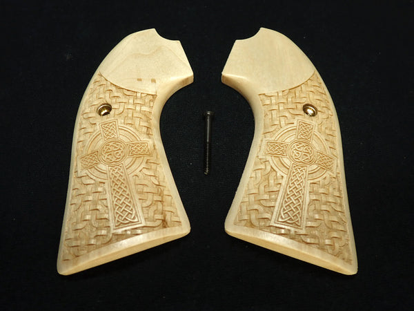 Celtic Cross Maple Ruger Vaquero Bisley Grips Engraved Textured