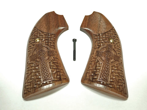 Celtic Cross Walnut Ruger Vaquero Bisley Grips Engraved Textured