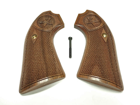Texas Star Walnut Ruger Vaquero Bisley Grips Checkered Engraved Textured
